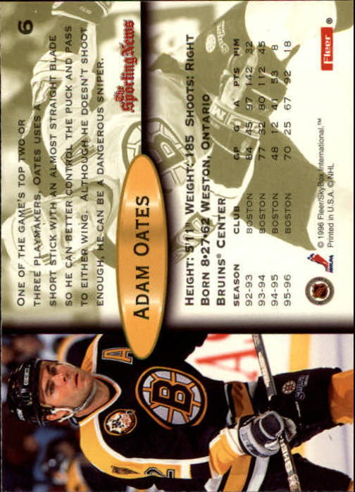 Playerkarte A. Oates Fleer 96/97 Boston