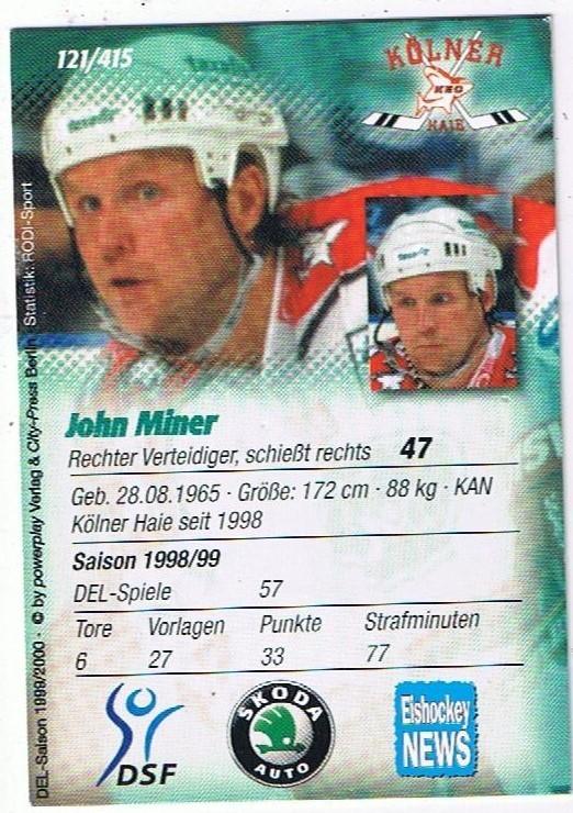 DEL Playerkarte John Miner Kölner Haie