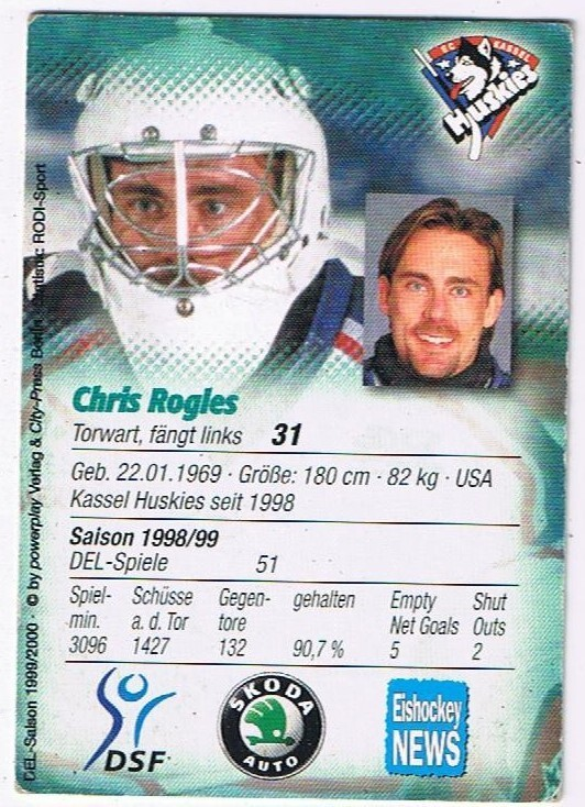 Playerkarte Chris Rogles Kassel Huskies