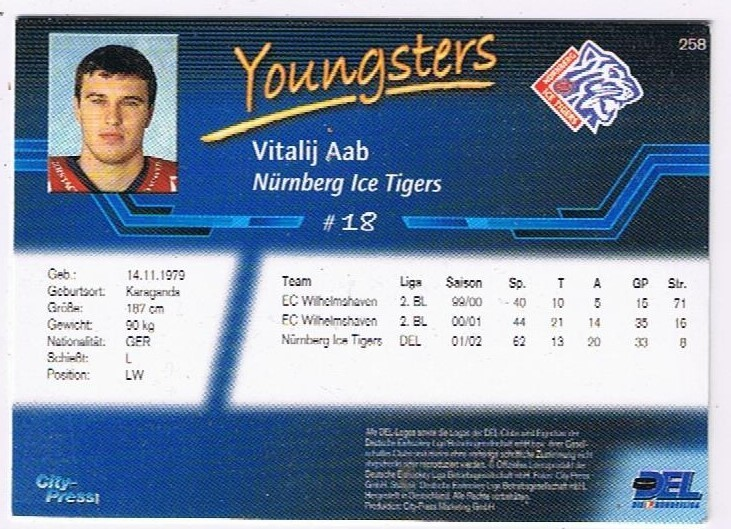DEL Playerkarte 2002/03 Vitalij Aab Youngsters Ice Tigers
