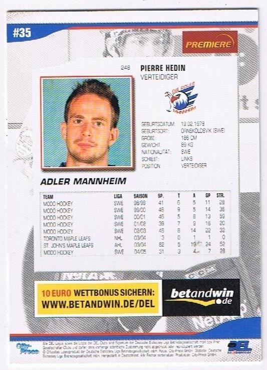 2005/06  Playerkarte Pierre Hedin Adler Mannheim